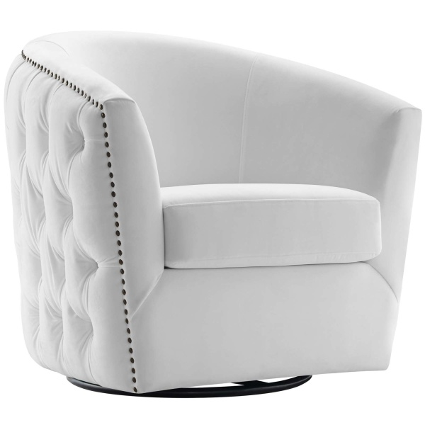 Rogue Swivel Performance Velvet Armchair White