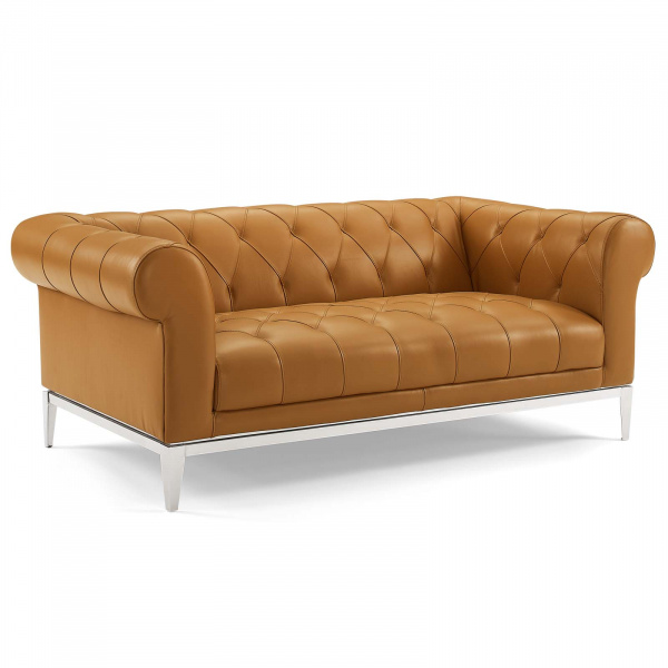 Idyll Tufted Button Upholstered Leather Chesterfield Loveseat Tan