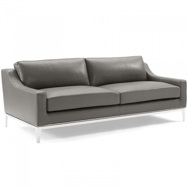 "Harness 83.5"" Stainless Steel Base Leather Sofa Gray"