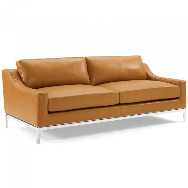 "Harness 83.5"" Stainless Steel Base Leather Sofa Tan"