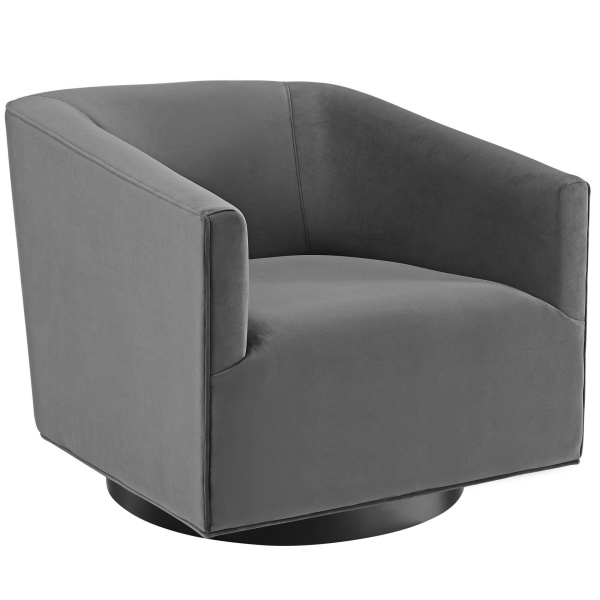 Twist Accent Lounge Performance Velvet Swivel Chair Gray