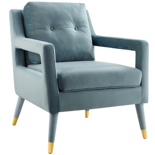 Premise Accent Lounge Performance Velvet Armchair Light Blue