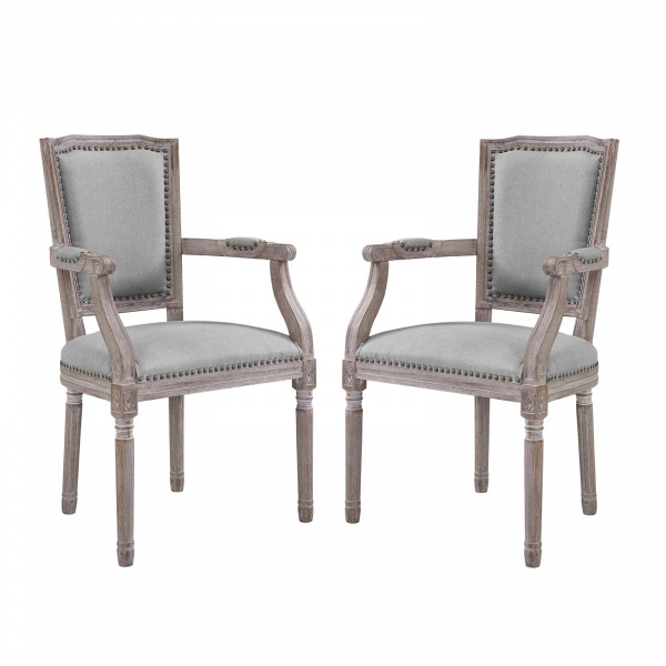 EEI-3462-LGR Penchant Dining Armchair Upholstered Fabric Set of 2 Light Gray