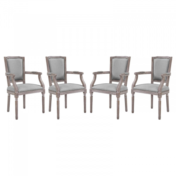 EEI-3463-LGR Penchant Dining Armchair Upholstered Fabric Set of 4 Light Gray
