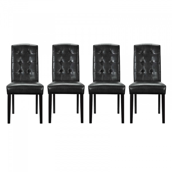 EEI-3464-BLK Perdure Dining Chairs Vinyl Set of 4 Black