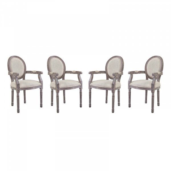 EEI-3466-BEI Emanate Dining Armchair Upholstered Fabric Set of 4 Beige