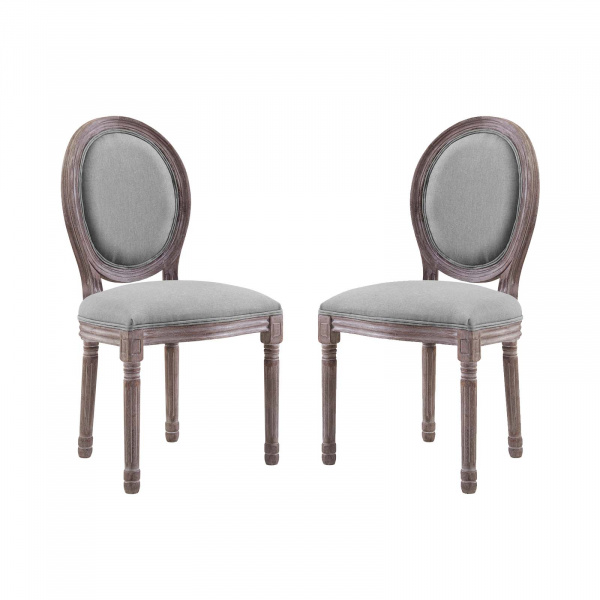 EEI-3467-LGR Emanate Dining Side Chair Upholstered Fabric Set of 2 Light Gray