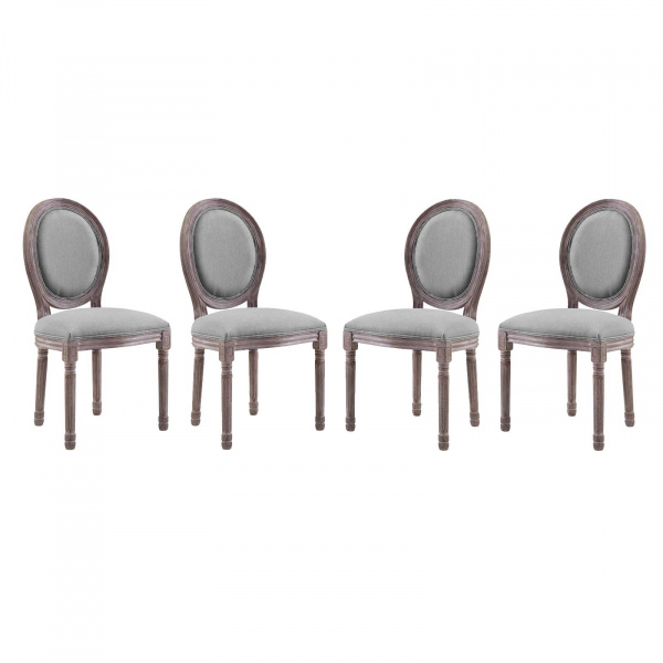 EEI-3468-LGR Emanate Dining Side Chair Upholstered Fabric Set of 4 Light Gray