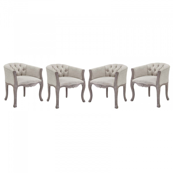 EEI-3469-BEI Crown Dining Armchair Upholstered Fabric Set of 4 Beige