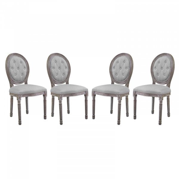 EEI-3470-LGR Arise Dining Side Chair Upholstered Fabric Set of 4 Light Gray