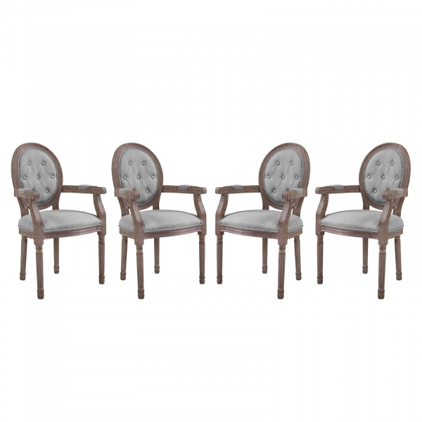 EEI-3471-LGR Arise Dining Armchair Upholstered Fabric Set of 4 Light Gray
