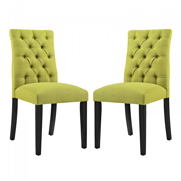 EEI-3474-WHE Duchess Dining Chair Fabric Set of 2 Wheatgrass