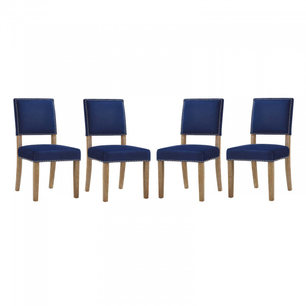 EEI-3478-NAV Oblige Dining Chair Wood Set of 4 Navy