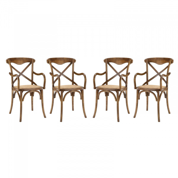 EEI-3480-WAL Gear Dining Armchair Set of 4 Walnut