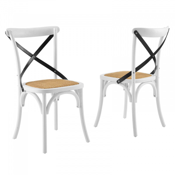 EEI-3481-WHI-BLK Gear Dining Side Chair Set of 2 White BlackWhite Black