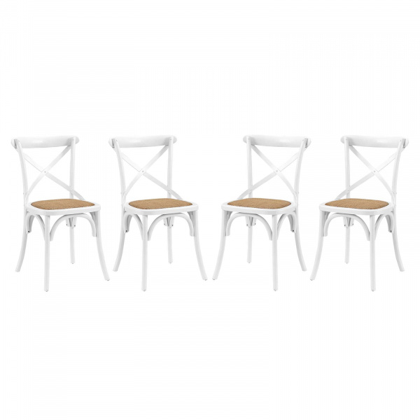 EEI-3482-WHI Gear Dining Side Chair Set of 4 White