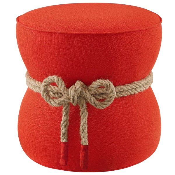 Beat Nautical Rope Upholstered Fabric Ottoman Atomic Red