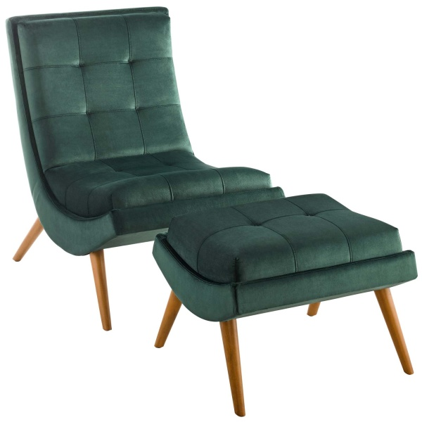 Ramp Upholstered Performance Velvet Lounge Chair and Ottoman Set Green