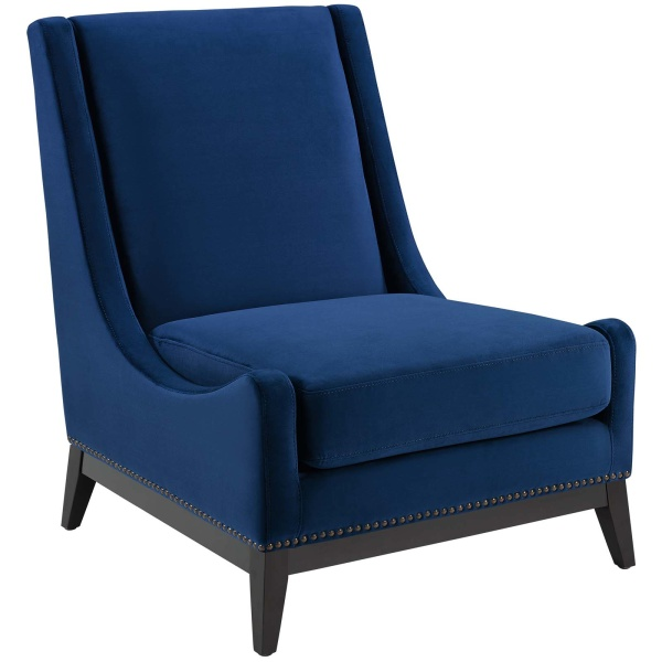 Confident Accent Upholstered Performance Velvet Lounge Chair Navy