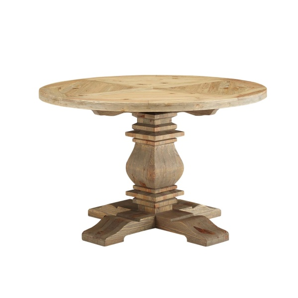 "Column 47"" Round Pine Wood Dining Table Brown"