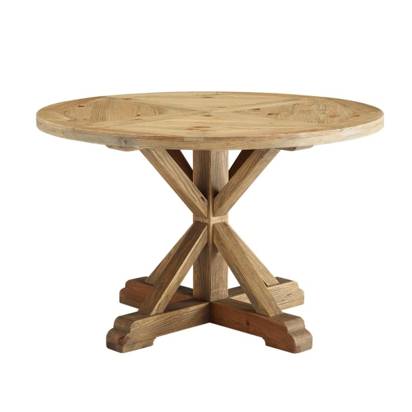 "Stitch 47"" Round Pine Wood Dining Table Brown"