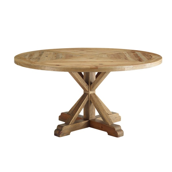 "Stitch 59"" Round Pine Wood Dining Table Brown"