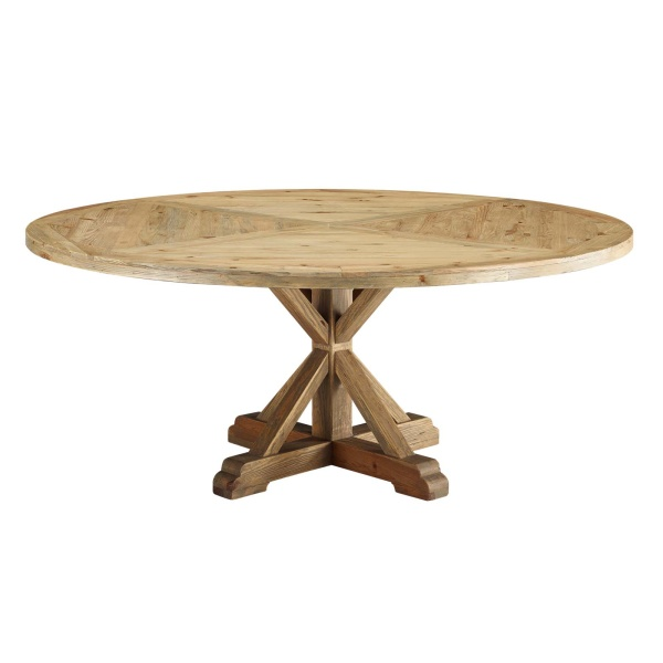 "Stitch 71"" Round Pine Wood Dining Table Brown"