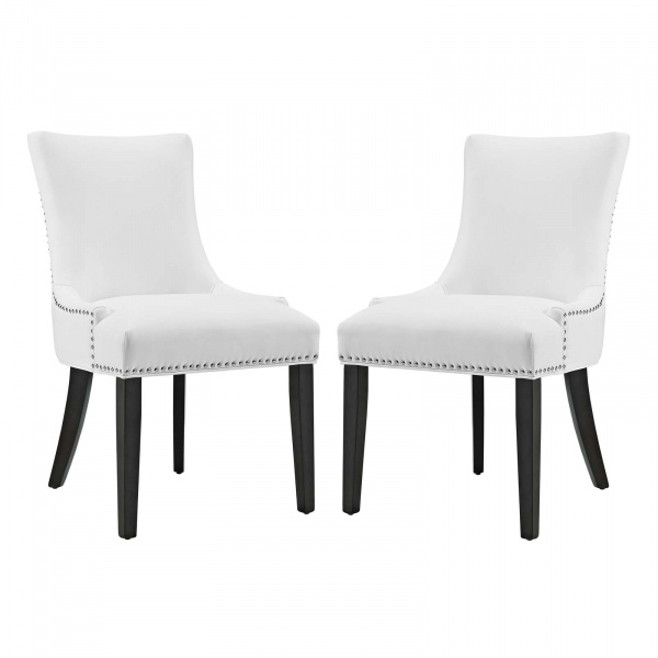 EEI-3498-WHI Marquis Dining Chair Faux Leather Set of 2 White