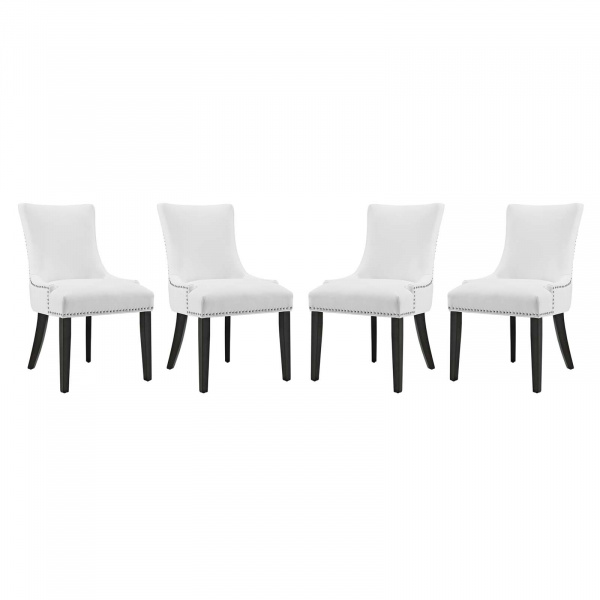 EEI-3499-WHI Marquis Dining Chair Faux Leather Set of 4 White