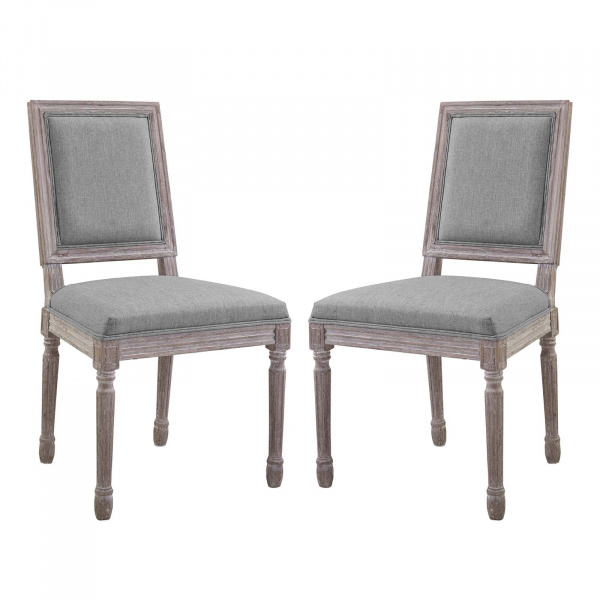 EEI-3500-LGR Court Dining Side Chair Upholstered Fabric Set of 2 Light Gray