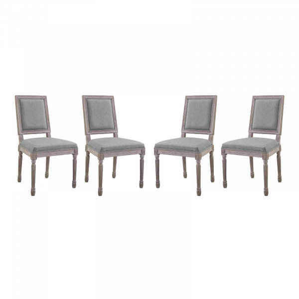 EEI-3501-LGR Court Dining Side Chair Upholstered Fabric Set of 4 Light Gray