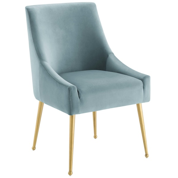 Discern Upholstered Performance Velvet Dining Chair Light Blue