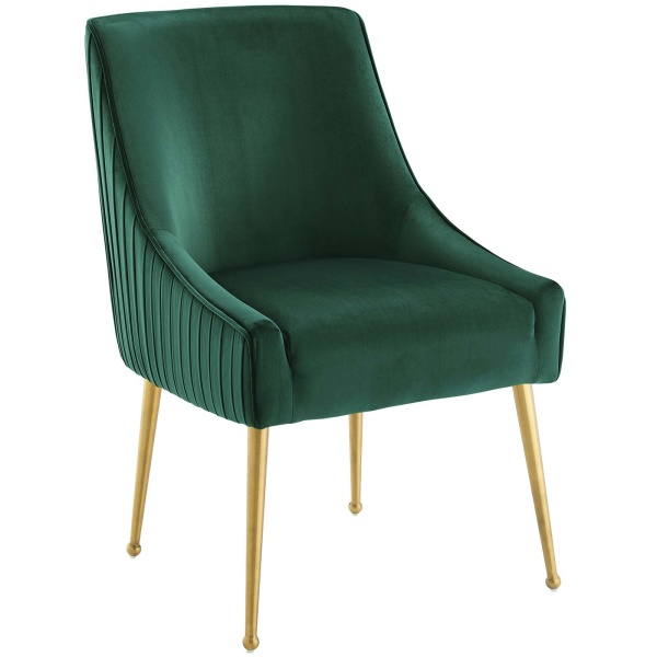 Discern Pleated Back Upholstered Performance Velvet Dining Chair Green
