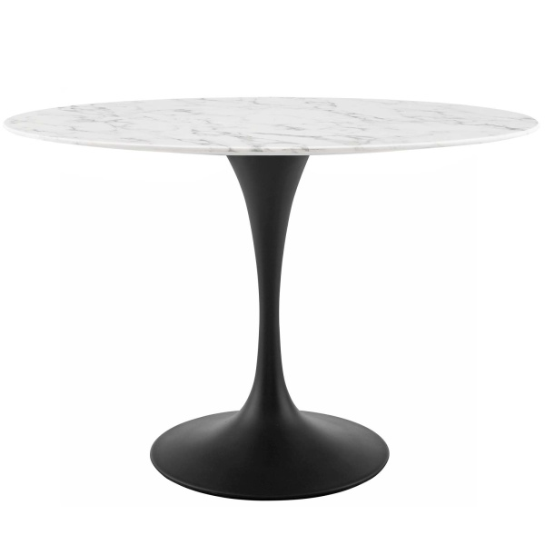 "EEI-3518-BLK-WHI Lippa 48"" Oval Artificial Marble Dining Table"