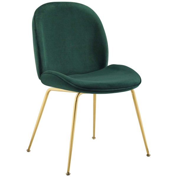 Scoop Gold Stainless Steel Leg Performance Velvet Dining Chair Green
