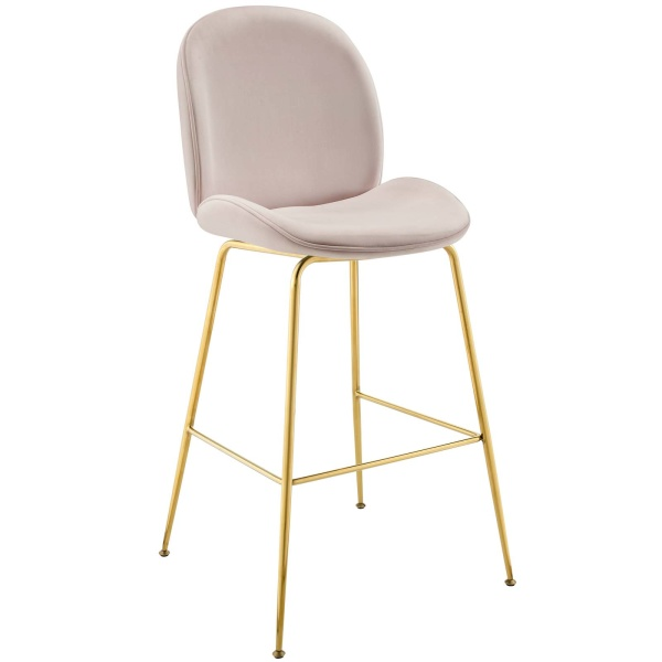 Scoop Gold Stainless Steel Leg Performance Velvet Bar Stool Pink