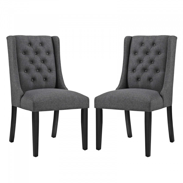 EEI-3557-GRY Baronet Dining Chair Fabric Set of 2 Gray