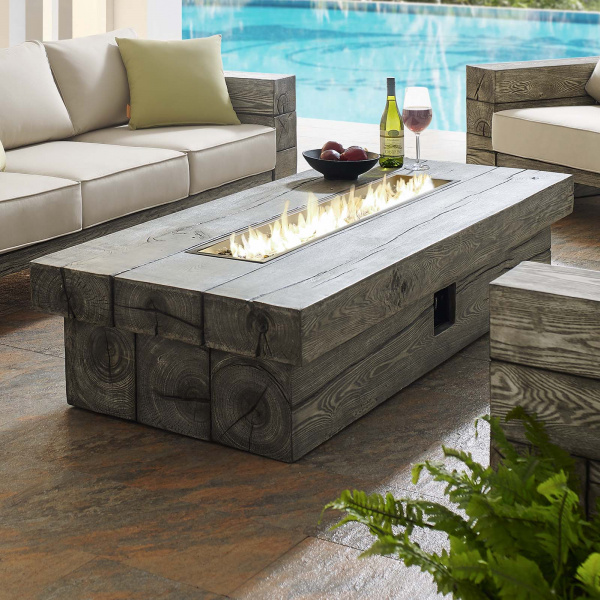 "Manteo 70"" Rectangular Outdoor Patio Fire Pit Table"