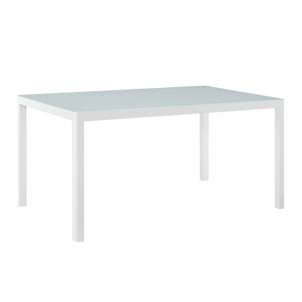 "EEI-3576-WHI Raleigh 59"" Outdoor Patio Aluminum Dining Table White"
