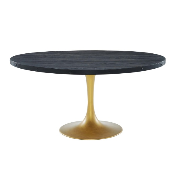 "Drive 60"" Round Wood Top Dining Table Black Gold"