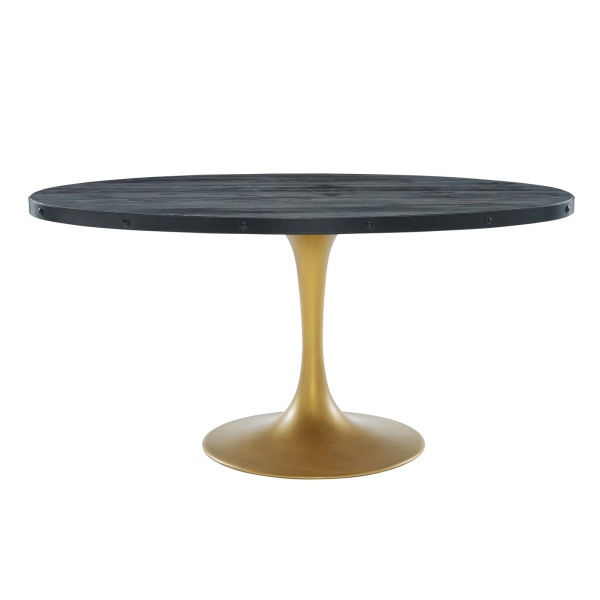 "Drive 60"" Oval Wood Top Dining Table Black Gold"