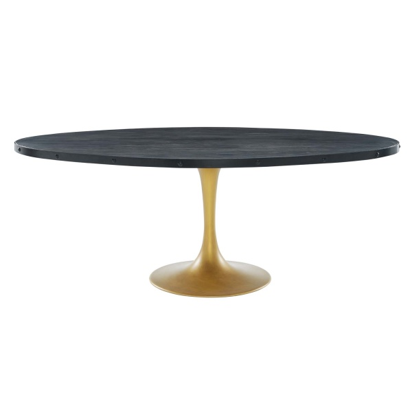 "Drive 78"" Oval Wood Top Dining Table Black Gold"