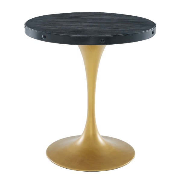 "Drive 28"" Round Wood Top Dining Table Black Gold"