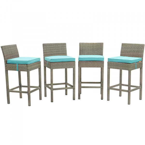 EEI-3602-LGR-TRQ Conduit Bar Stool Outdoor Patio Wicker Rattan Set of 4 Light Gray Turquoise