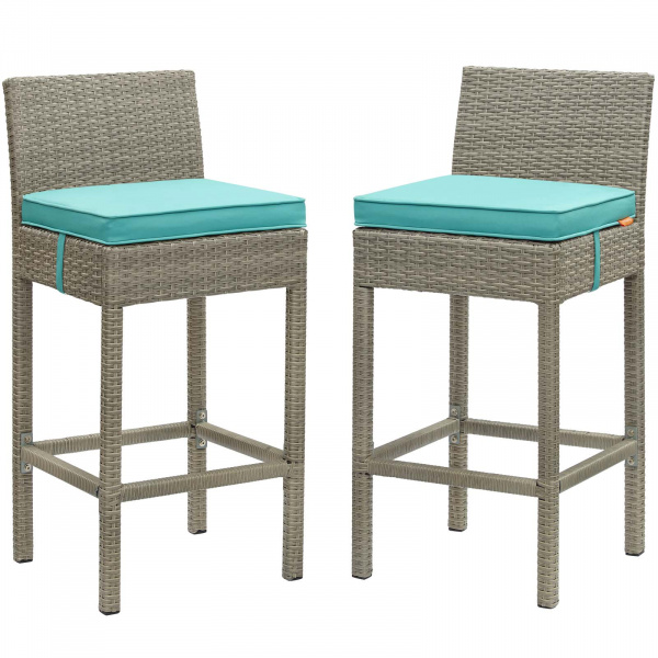 EEI-3604-LGR-TRQ Conduit Bar Stool Outdoor Patio Wicker Rattan Set of 2 Light Gray Turquoise