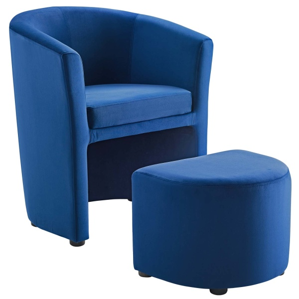 Divulge Stain Resistant Velvet Arm Chair and Ottoman Set Navy