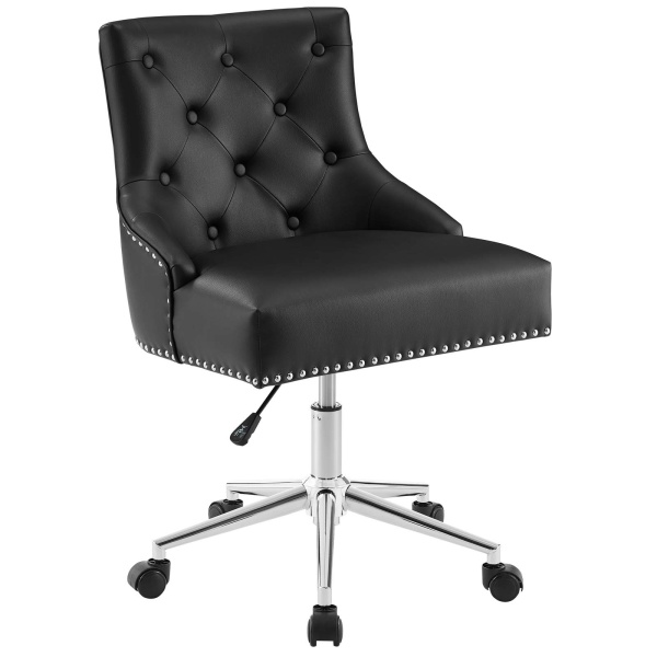 EEI-3608-BLK Regent Tufted Button Swivel Faux Leather Office Chair Black