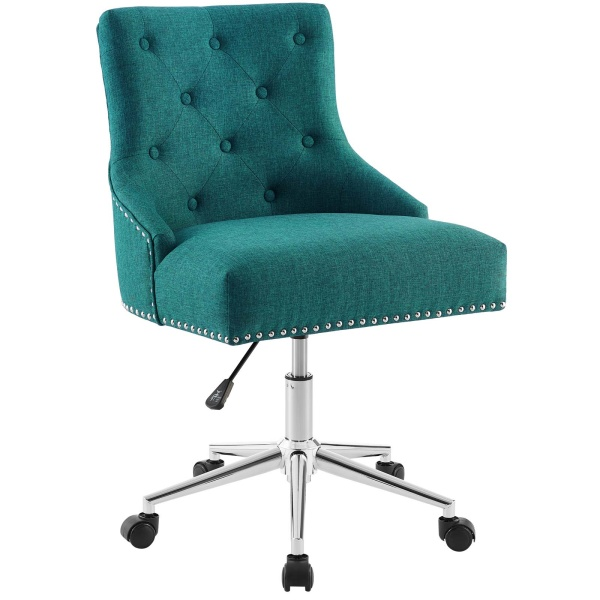EEI-3609-TEA Regent Tufted Button Swivel Upholstered Fabric Office Chair Teal