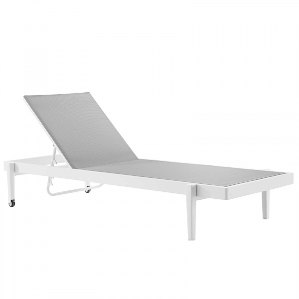 EEI-3610-WHI-GRY Charleston Outdoor Patio Chaise Lounge Chair White Gray