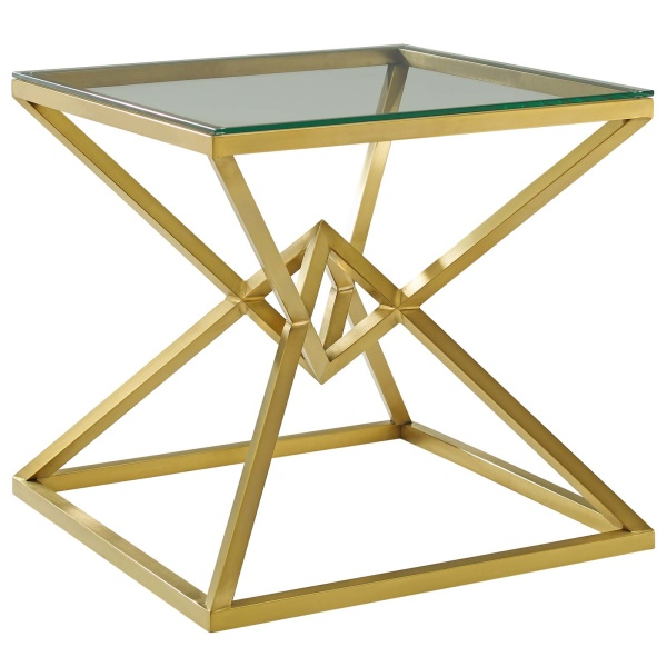 "Point 25.5"" Brushed Gold Metal Stainless Steel Side Table Gold"